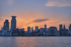 Sunglow of Bund Shanghai stock images