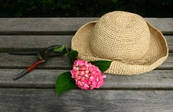 Sunhat on bench. Straw hat and flower on beach in garden after I done some garden work Royalty Free Stock Photo