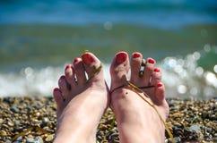 Sunie, fala, dziewczyna, plaża, powódź, błękit, morze, kipiel Obrazy Stock