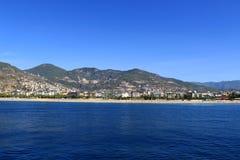 Sunie w Alanya mieście, widok od morza zdjęcie stock
