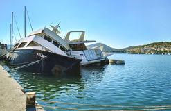 Sunk boats Salamis island Greece stock image