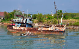 Sunk Fishing Boat. In Phuket, Thailand Stock Photo