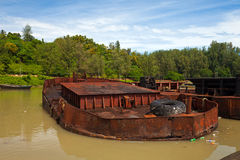 Sunk Old Boat Stock Photo