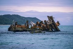Sunk shipwrecks at Tangalooma Island in Moreton Bay. Tangalooma Island sunk shipwrecks in Moreton Bay, Queensland Stock Photography