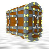 Sunk wood metal chest with treasure half in water Stock Photography