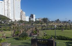 Sunked Gardens Against Golden Mile Beachfront City Skyline stock photography