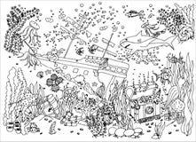 sunken сокровище развалина также вектор иллюстрации притяжки corel Чертеж Doodle Медитативная тренировка Стресс книжка-раскраски  стоковое изображение