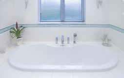 Sunken bath. In UK luxury home Stock Photography