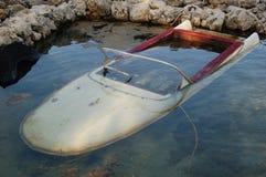 Sunken boat. Old, sunken speedboat in the Adriatic sea Royalty Free Stock Image