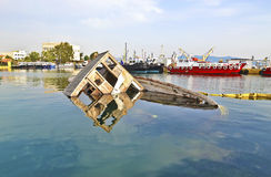 Sunken boat Eleusis Greece Stock Photo