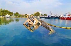 Sunken boat Eleusis Greece stock image