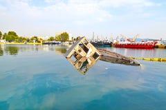 Sunken boat Eleusis Greece royalty free stock image