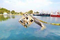 Sunken boat Eleusis Greece stock images