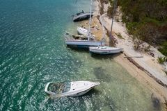 Sunken boats after Hurricane Irma. Aerial drone image boats sunken after Hurricane Irma Florida Keys Royalty Free Stock Images