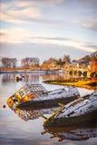 Sunken boats Stock Photo