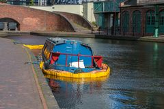 Sunken canal boat in Birmingham royalty free stock photo