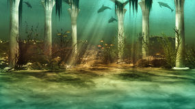 Sunken City. An imaginary underwater scenery with sunken ruins Stock Photo