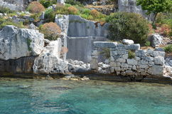 Sunken city in the Mediterranean sea Royalty Free Stock Photos