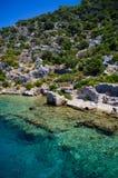 Sunken city of simena. The sunken city near kekova in Turkey Royalty Free Stock Image
