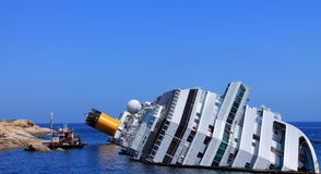 The sunken cruise ship Stock Photography