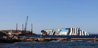 Sunken cruise ship Stock Photography