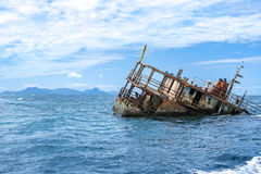 Sunken Fishing Boat off the Fijian Coast. Remnants of a sunken fishing boat on the Fijian coast Royalty Free Stock Image