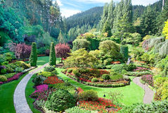 Sunken Garden at Butchart Gardens, Central Saanich, British Columbia, Canada. A view of the sunken garden at Butchart Gardens, Central Saanich, Vancouver Island royalty free stock photo