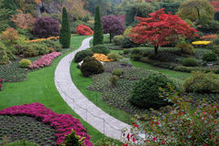 Sunken garden in fall stock images