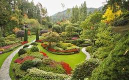 The Sunken-garden on island Vancouver. Masterpiece of landscape gardening art - Sunken-garden on island Vancouver Stock Image