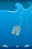 Sunken House. House struck in a massive storm and sunk to the bottom of the ocean Stock Photography