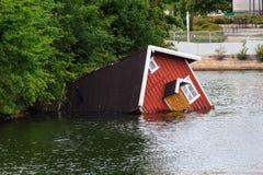 Sunken house. A sunken house in a river of Malmö, Sweden Stock Photography