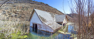 Sunken House Panorama. Close up view of a sunken house Royalty Free Stock Photography
