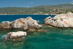 Sunken Lycian city on the Kekova island Royalty Free Stock Images