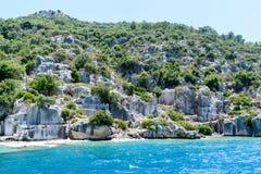 Sunken Lycian city on  Kekova island, Turkey Stock Photos