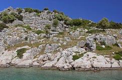 Sunken Lycian city, Turkey Stock Photos