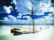 Sunken old pirate frigate Royalty Free Stock Image