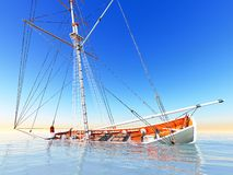 Sunken old pirate frigate Stock Photo