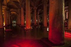 Sunken Palace in Istanbul. Cistern in red color of Sunken Palace in Istanbul Stock Photography