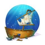 Sunken pirate schooner on sandy bottom of ocean Stock Photos