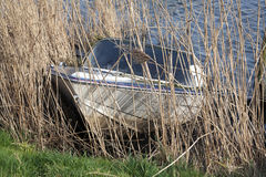 Sunken recreational boat Stock Image