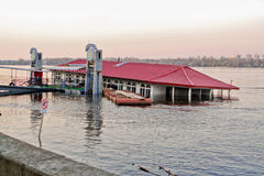 Sunken river restaurant. On the Dnieper River in Kiev Ukraine royalty free stock photography
