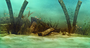 Sunken ruins. An imaginary underwater scenery with sunken ruins Stock Images