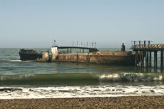 Sunken Ship. This is a picture of a sunken ship on the Monterey Bay at New Brighton State Beach royalty free stock image