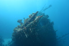 Sunken ship. Wreckage of a sunken ship beneath the sea Royalty Free Stock Image