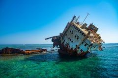 Sunken ship abandoned royalty free stock photos