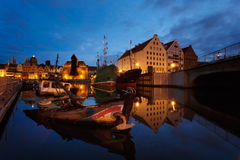 Sunken ship in a bay. Of Gdansk in summer evening Royalty Free Stock Photography