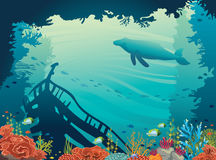 Sunken ship, coral reef, whale, underwater sea. Underwater  illustration. Silhouette of sunken ship, coral reef, fish and whale on a blue sea. Marine wild life Stock Photos