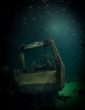 Sunken Ship with Fish Royalty Free Stock Image