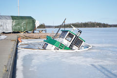 Sunken ship in the Lappeenranta harbor at winter. Stock Photography