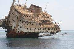 Sunken ship in Red Sea near Tiran Island. Egypt Royalty Free Stock Photos